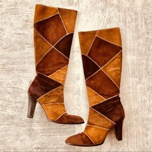 J. Crew suede patchwork knee high boots 👢 size 9
